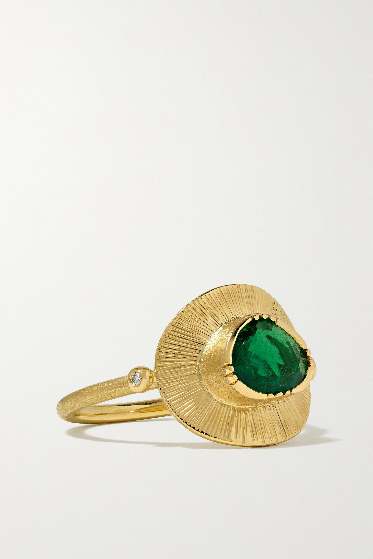 Brooke Gregson - Ellipse 18-karat gold, emerald and diamond ring