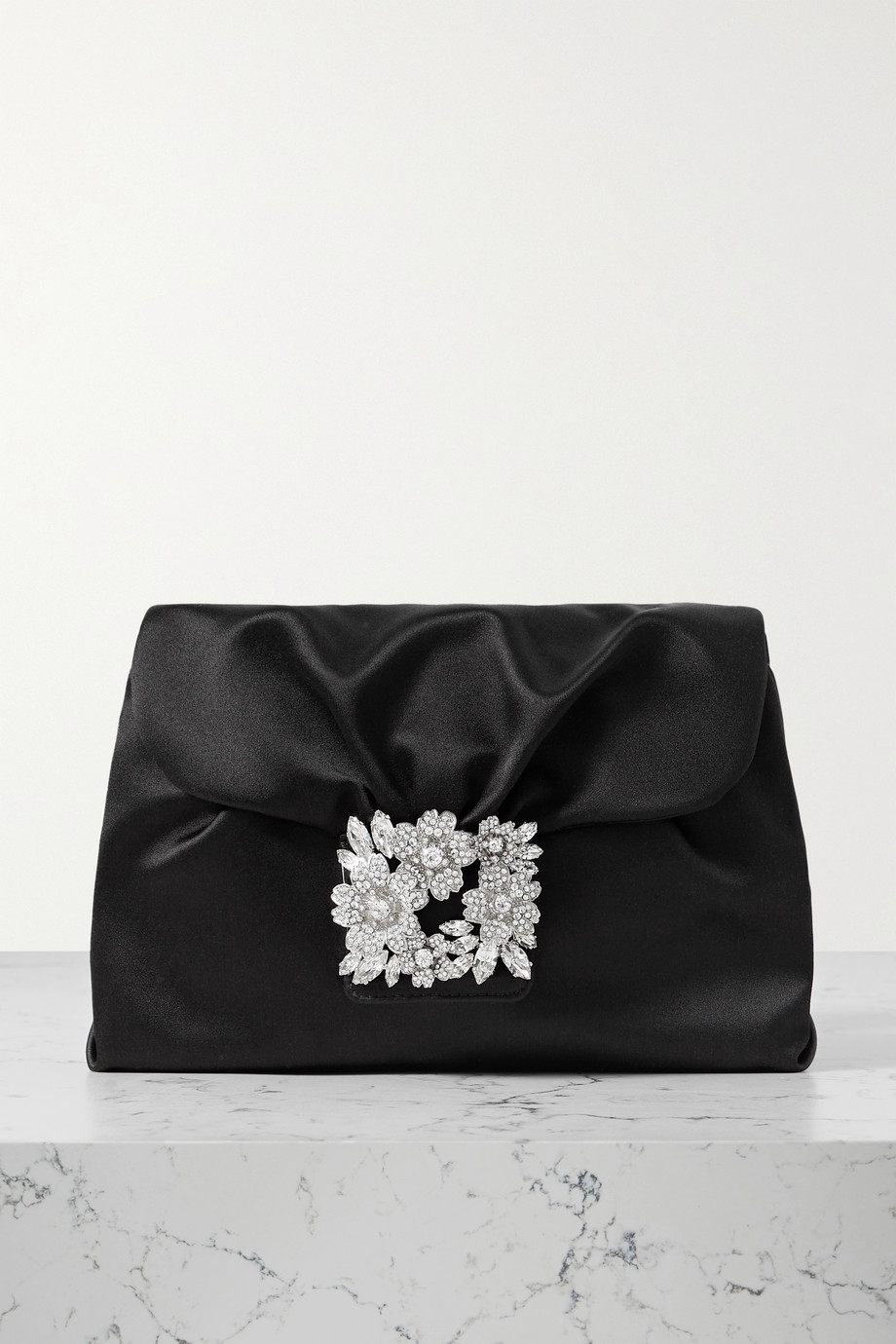 Roger Vivier RV Bouquet Strass Drape embellished satin clutch