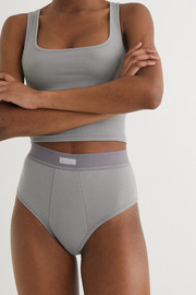 SKIMS Cotton Collection ribbed cotton-blend jersey briefs - Pacific