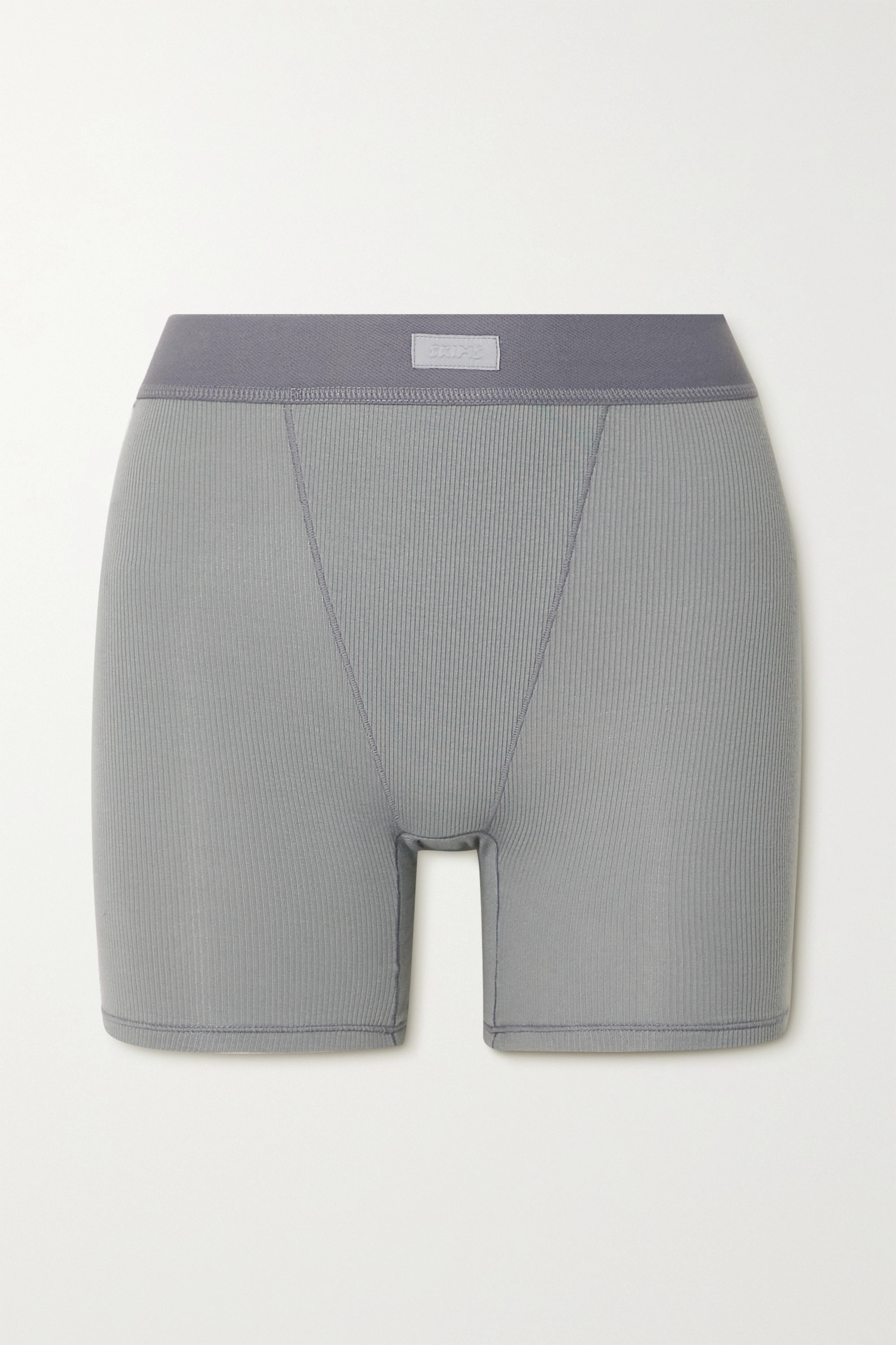 SKIMS - Cotton Collection ribbed cotton-blend jersey boxer shorts - Pacific