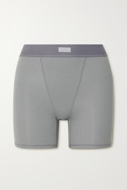 SKIMS Cotton Collection ribbed cotton-blend jersey boxer shorts - Pacific