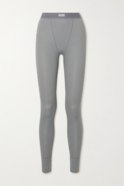 SKIMS Cotton Collection ribbed cotton-blend jersey leggings - Pacific