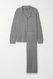 SKIMS Ribbed stretch-modal jersey lounge set - Heather Grey