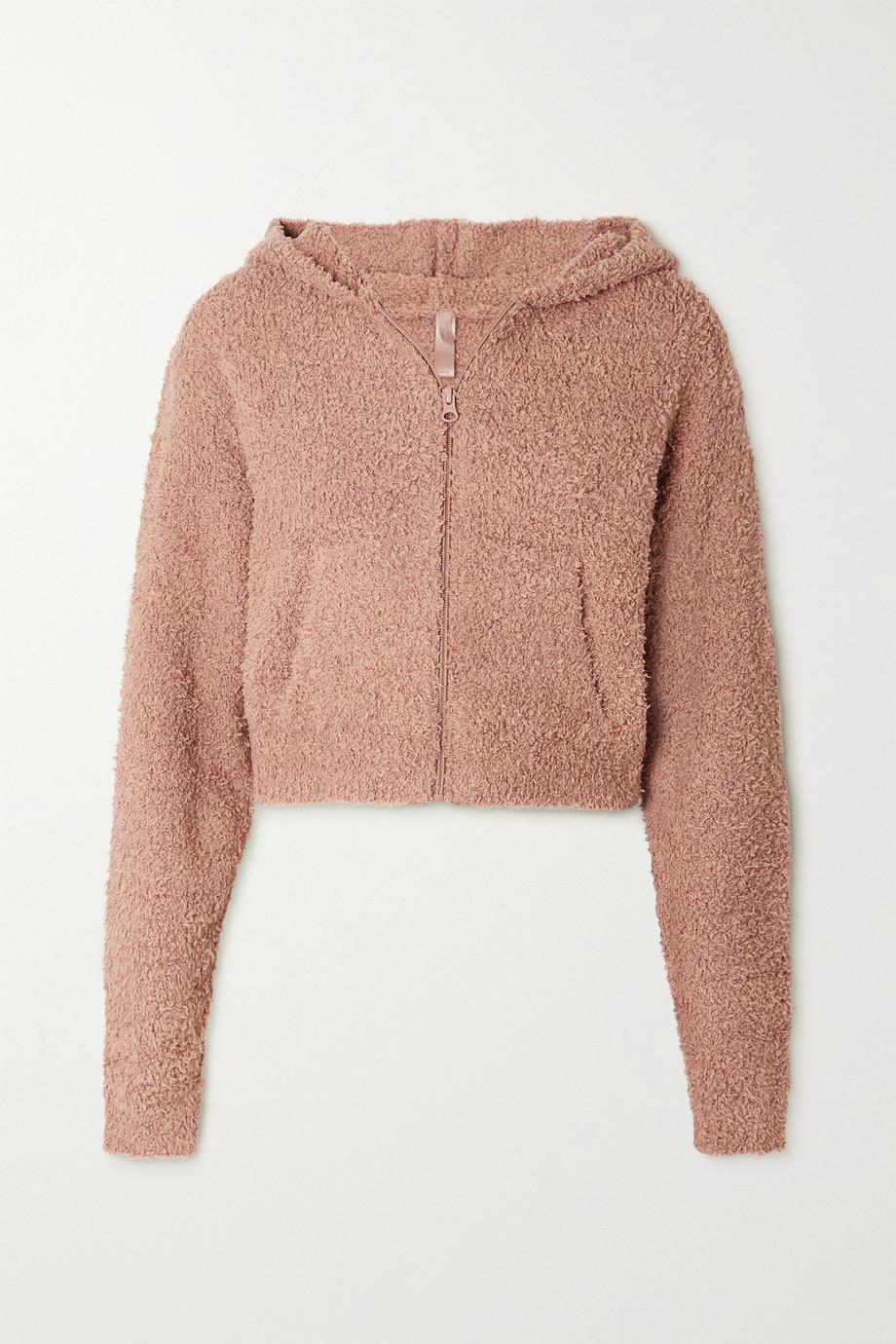 SKIMS Cozy Knit Zip Up Hoodie – Rose Clay – Kapuzenjacke aus Bouclé