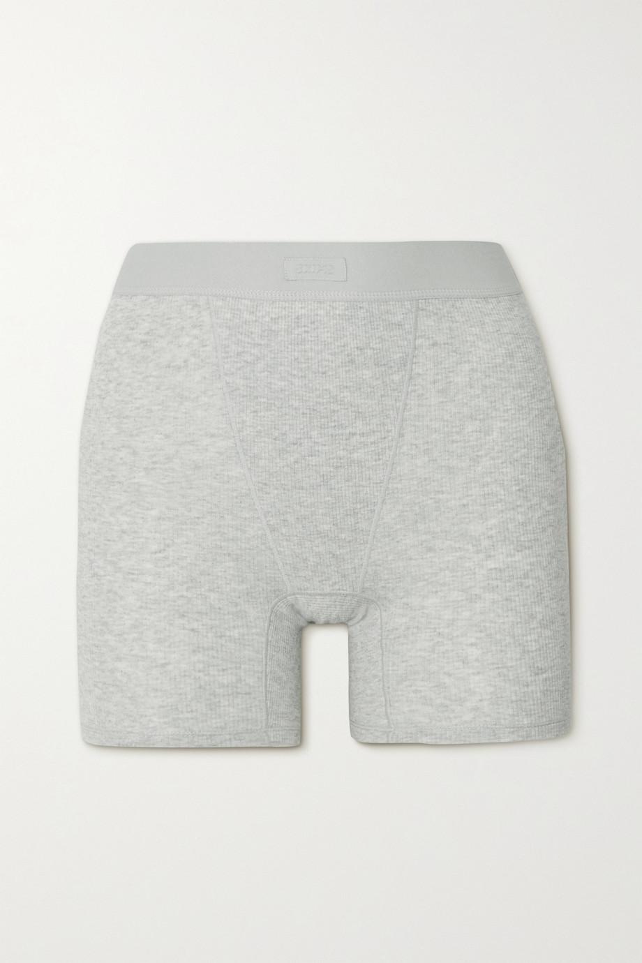 SKIMS Cotton Rib Boxer – Light Heather Grey – Shorts aus geripptem Jersey aus einer Baumwollmischung