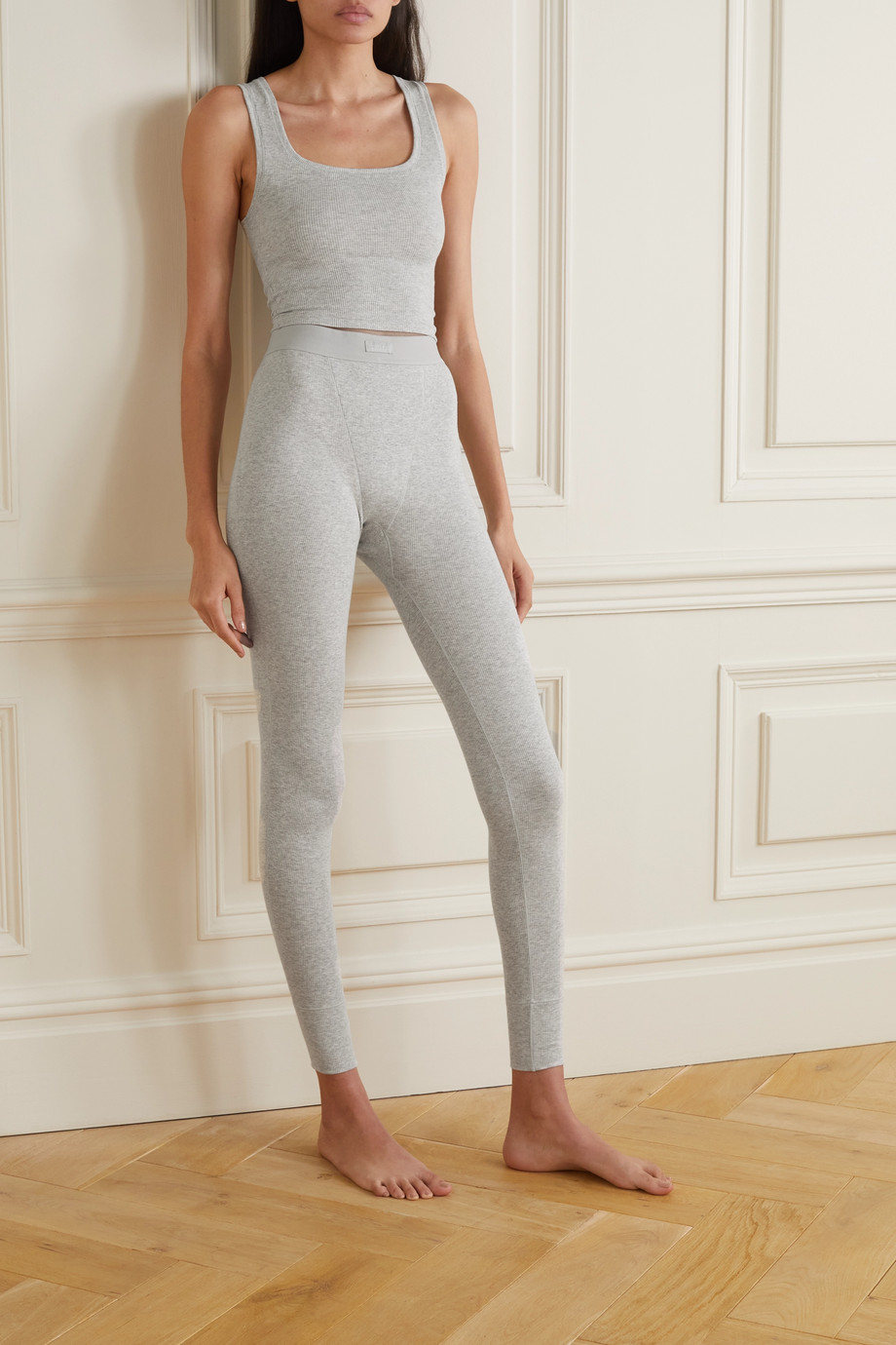 SKIMS Cotton Rib Thermal Legging –  Light Heather Grey – Leggings aus gerippter Stretch-Baumwolle