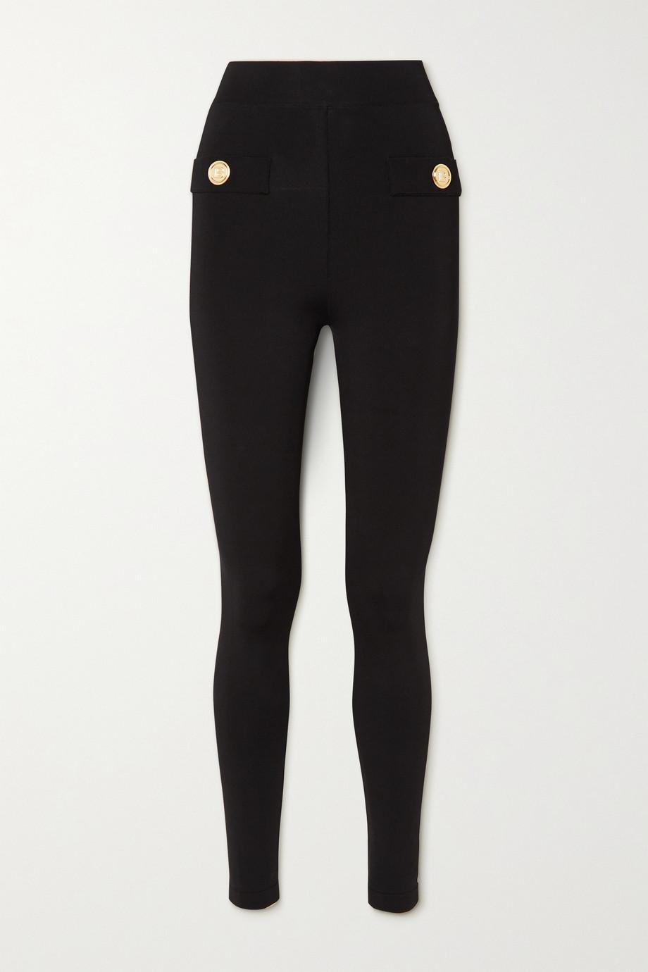 Balmain Button-embellished stretch-ponte leggings