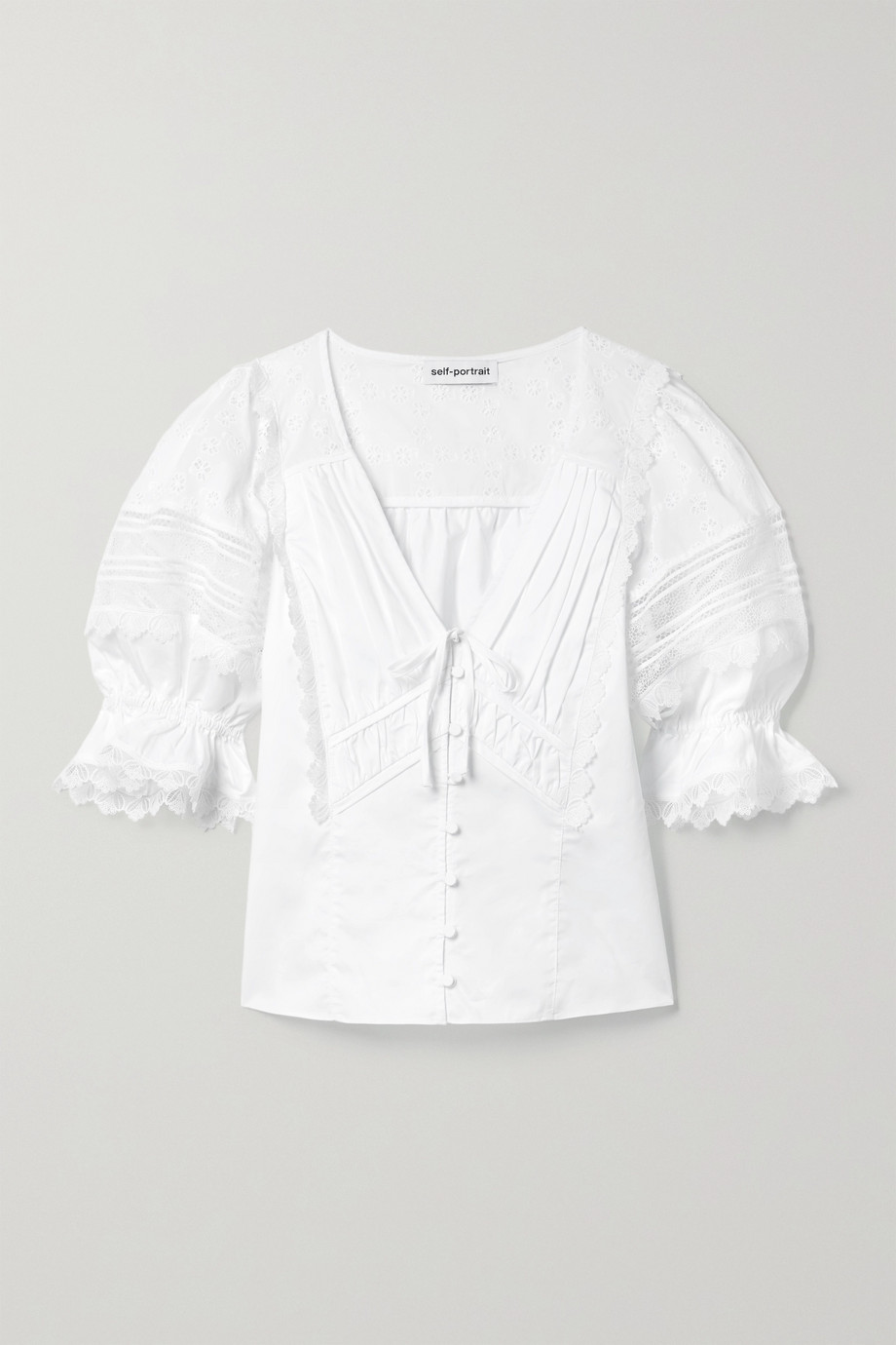 Self-Portrait Guipure lace-trimmed broderie anglaise cotton top