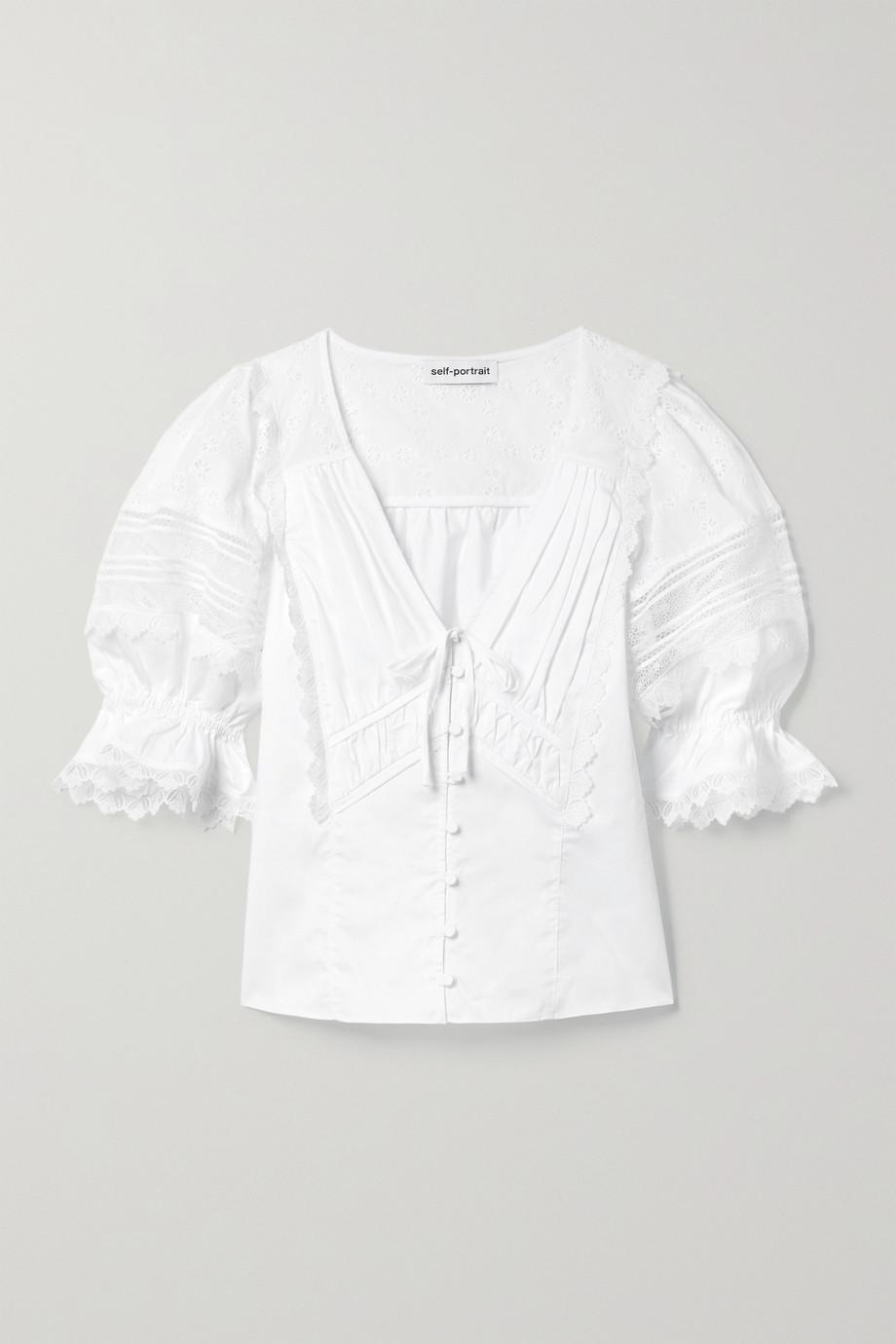 Self-Portrait Blouse en coton à broderie anglaise et à finitions en dentelle guipure