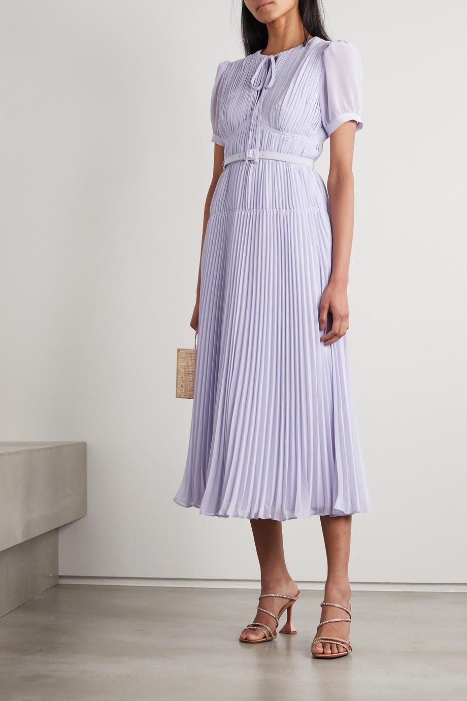 Self-Portrait Belted pleated chiffon midi dress