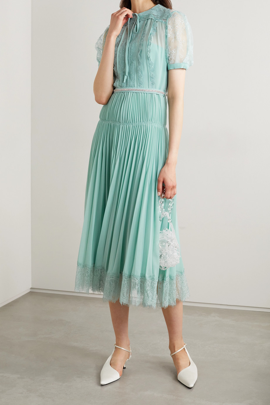 Self-Portrait Crystal-embellished pleated chiffon and lace dress