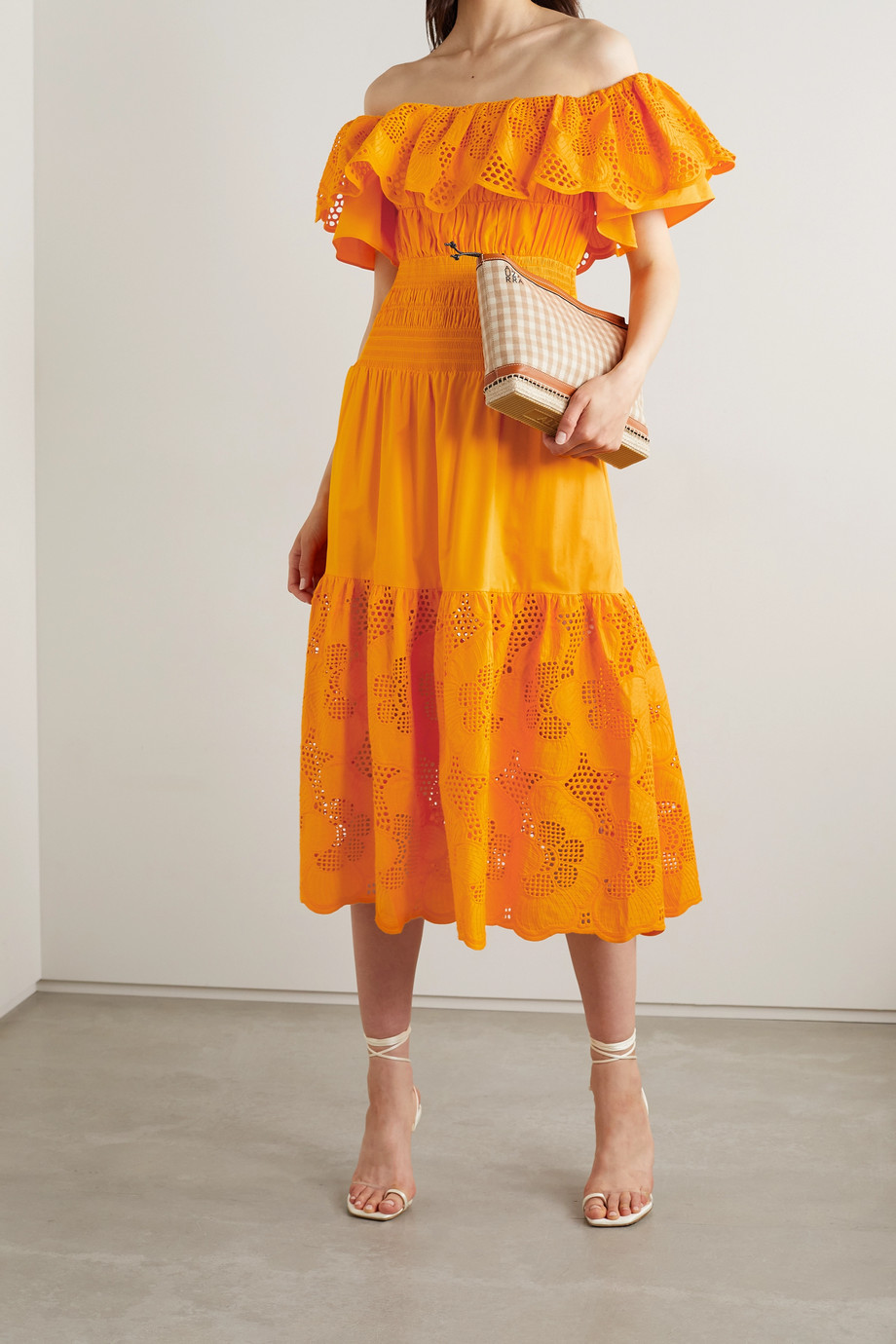 Self-Portrait Off-the-shoulder broderie anglaise cotton-poplin midi dress