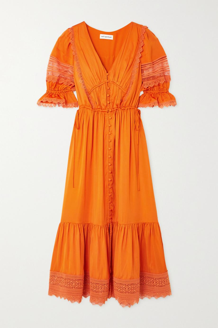 Self-Portrait Lace-trimmed satin-twill midi dress
