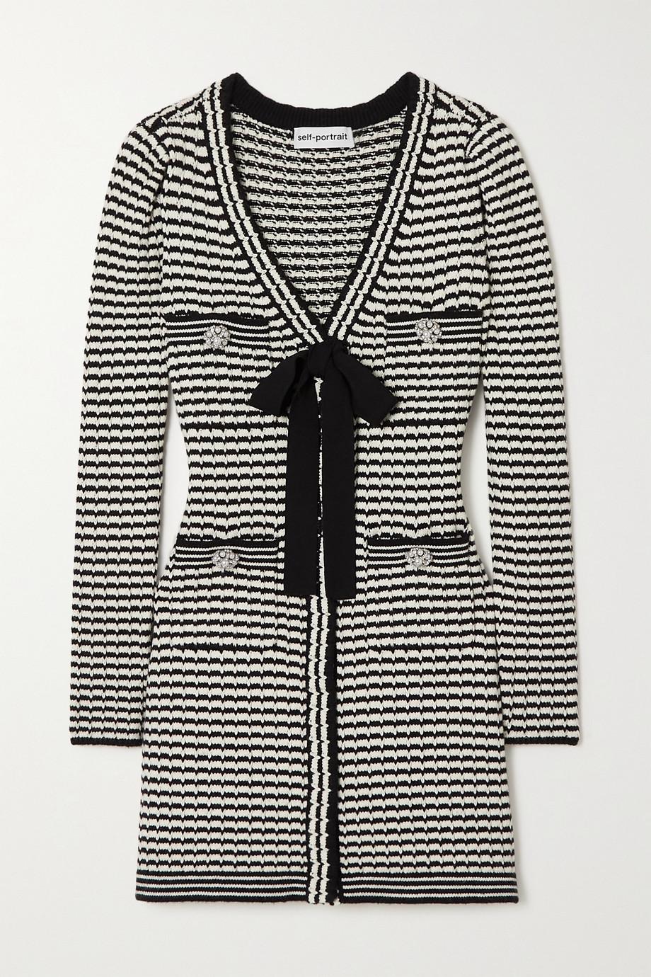 Self-Portrait Bow-detailed striped cotton-blend mini dress