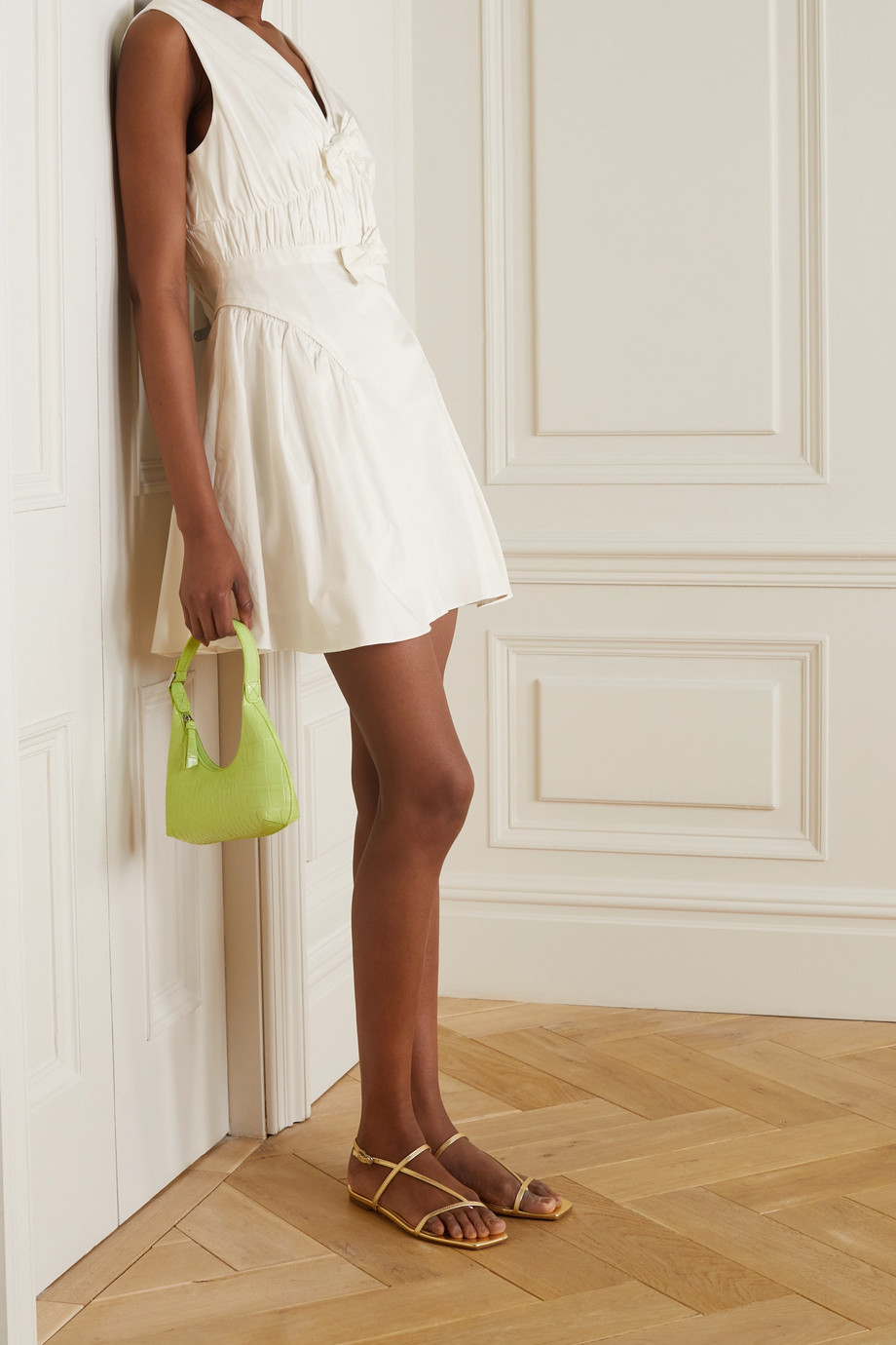 Self-Portrait Bow-detailed cotton-poplin mini dress