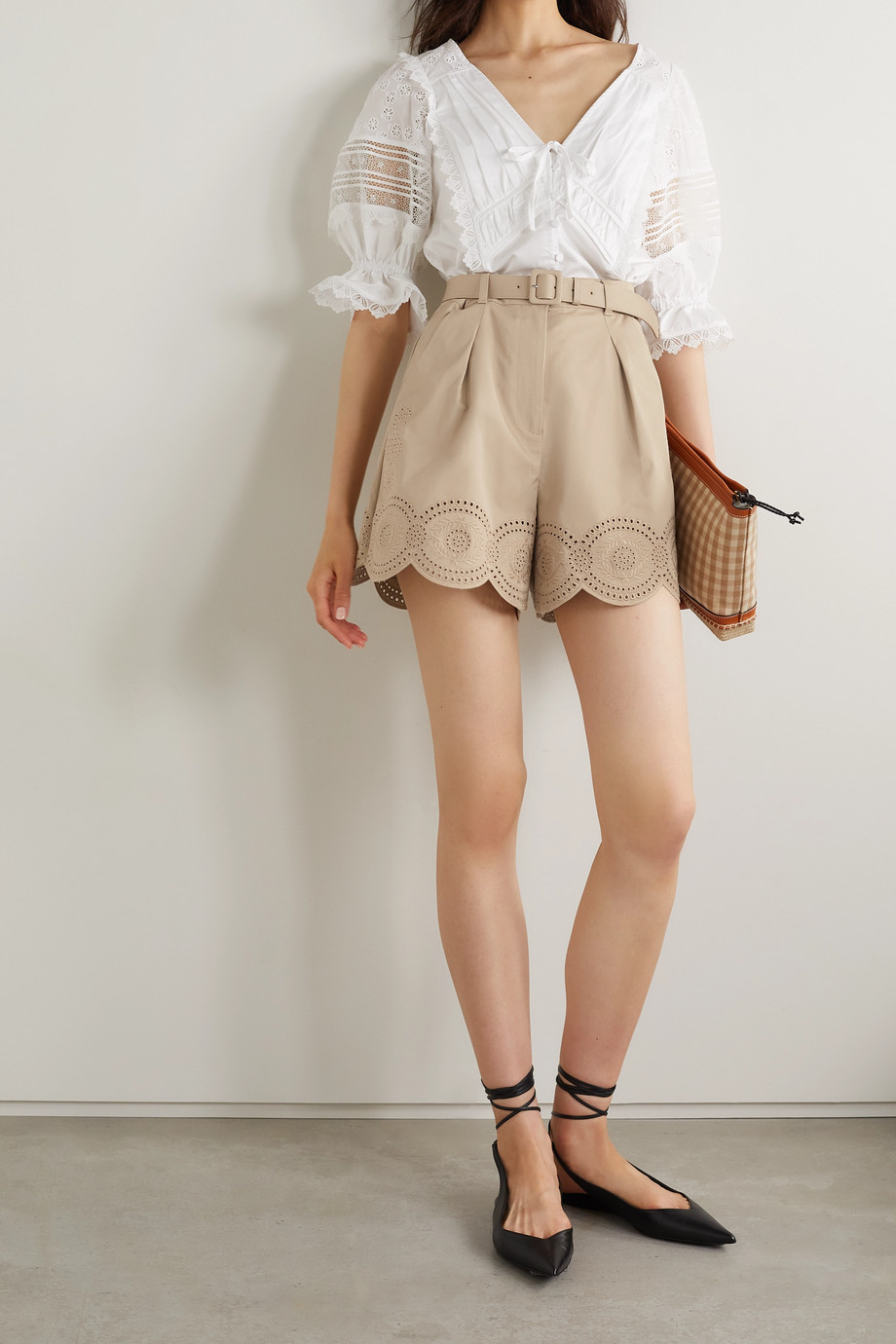 Self-Portrait Belted broderie anglaise cotton shorts