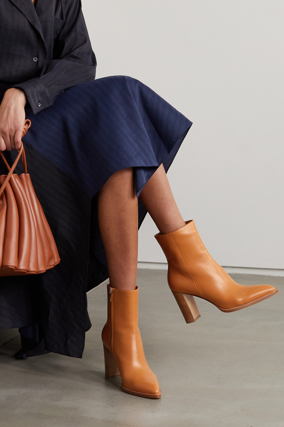 Gianvito Rossi River 85 leather ankle boots