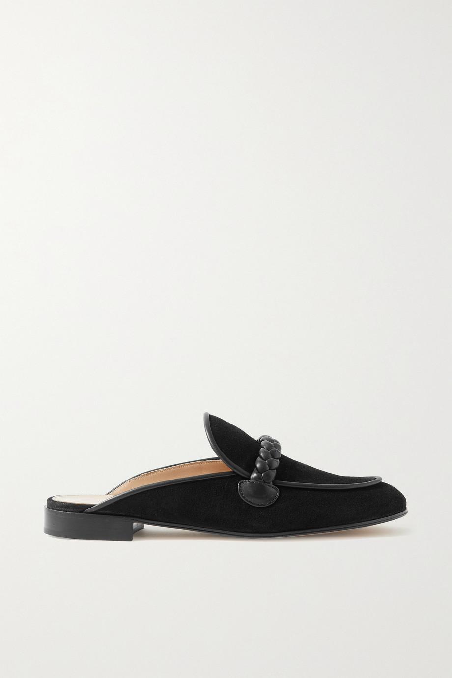 Gianvito Rossi Belem leather-trimmed suede slippers