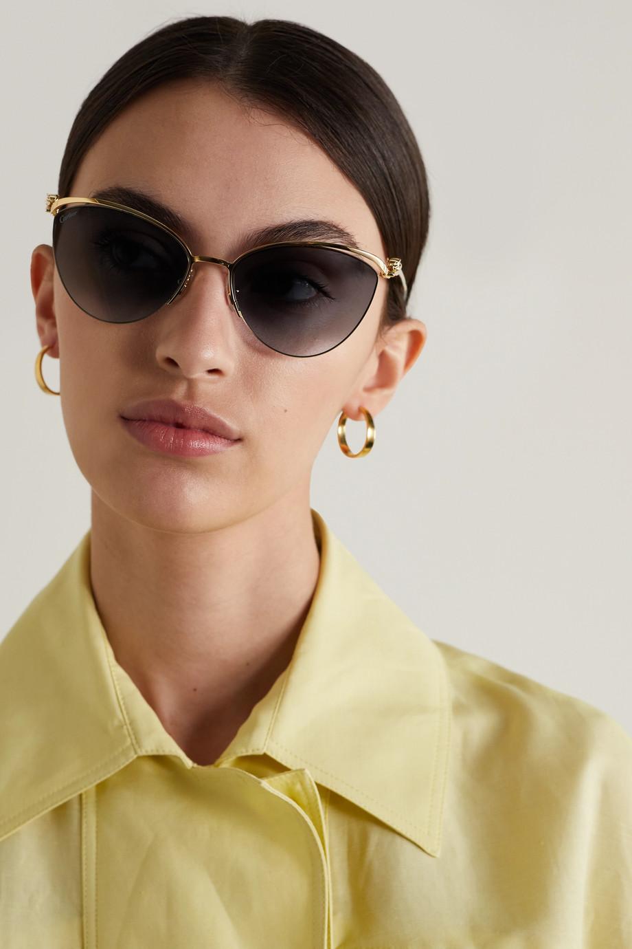 Cartier Eyewear Panthère cat-eye gold-tone sunglasses