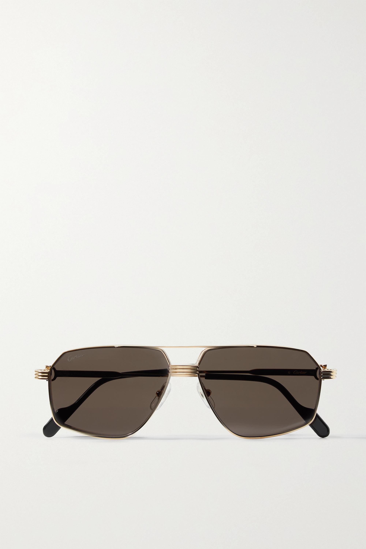 Cartier Eyewear Première aviator-style gold-tone and acetate sunglasses