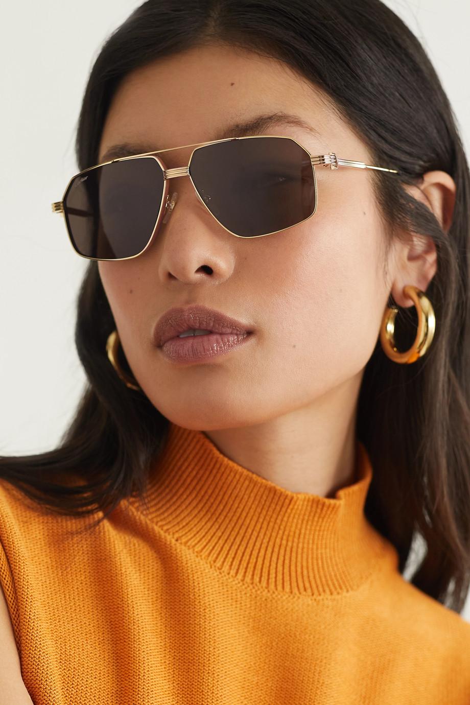 Cartier Eyewear Lunettes de soleil aviateur en métal doré et en acétate Première