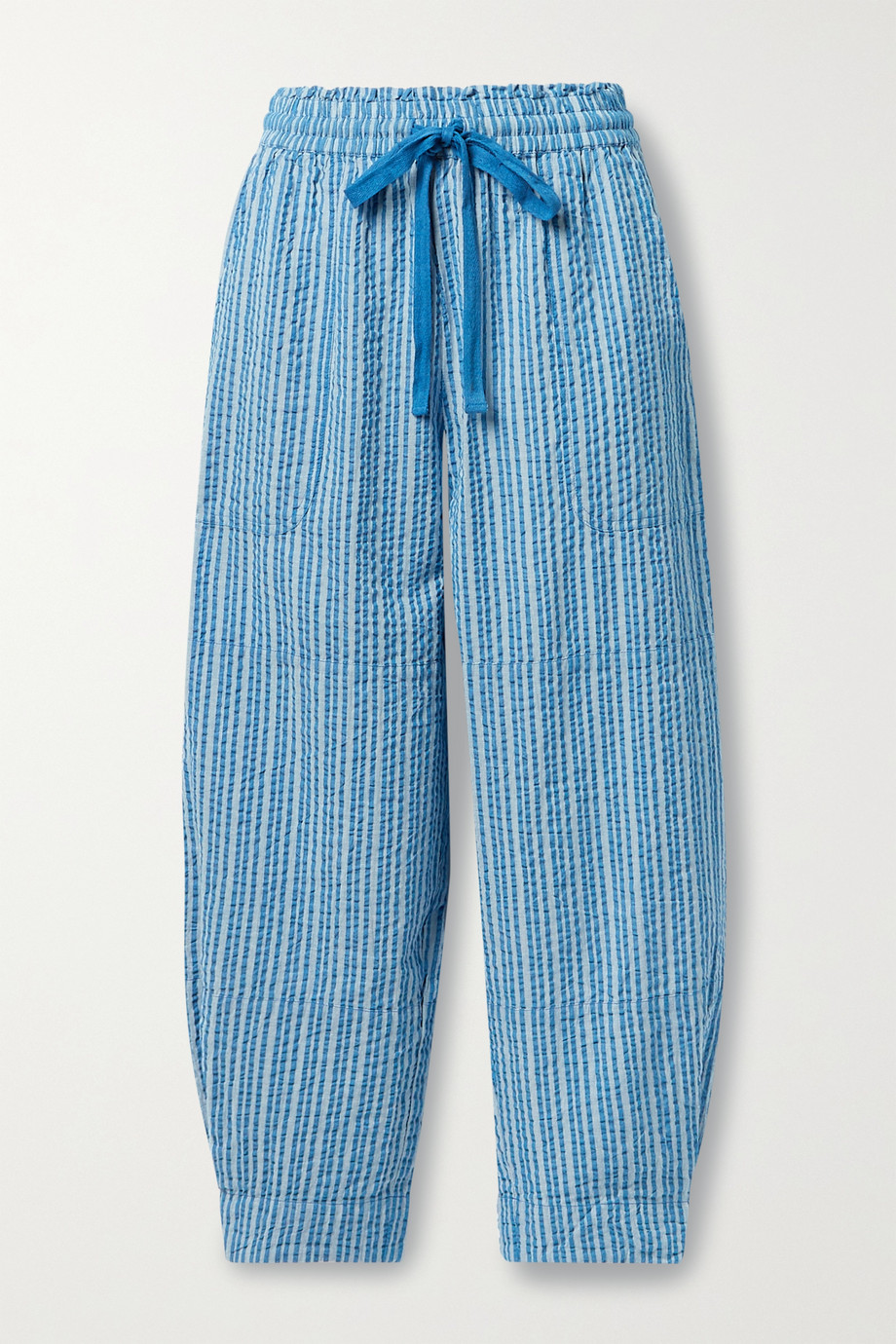 APIECE APART Herradura Surf cropped striped organic cotton-seersucker track pants