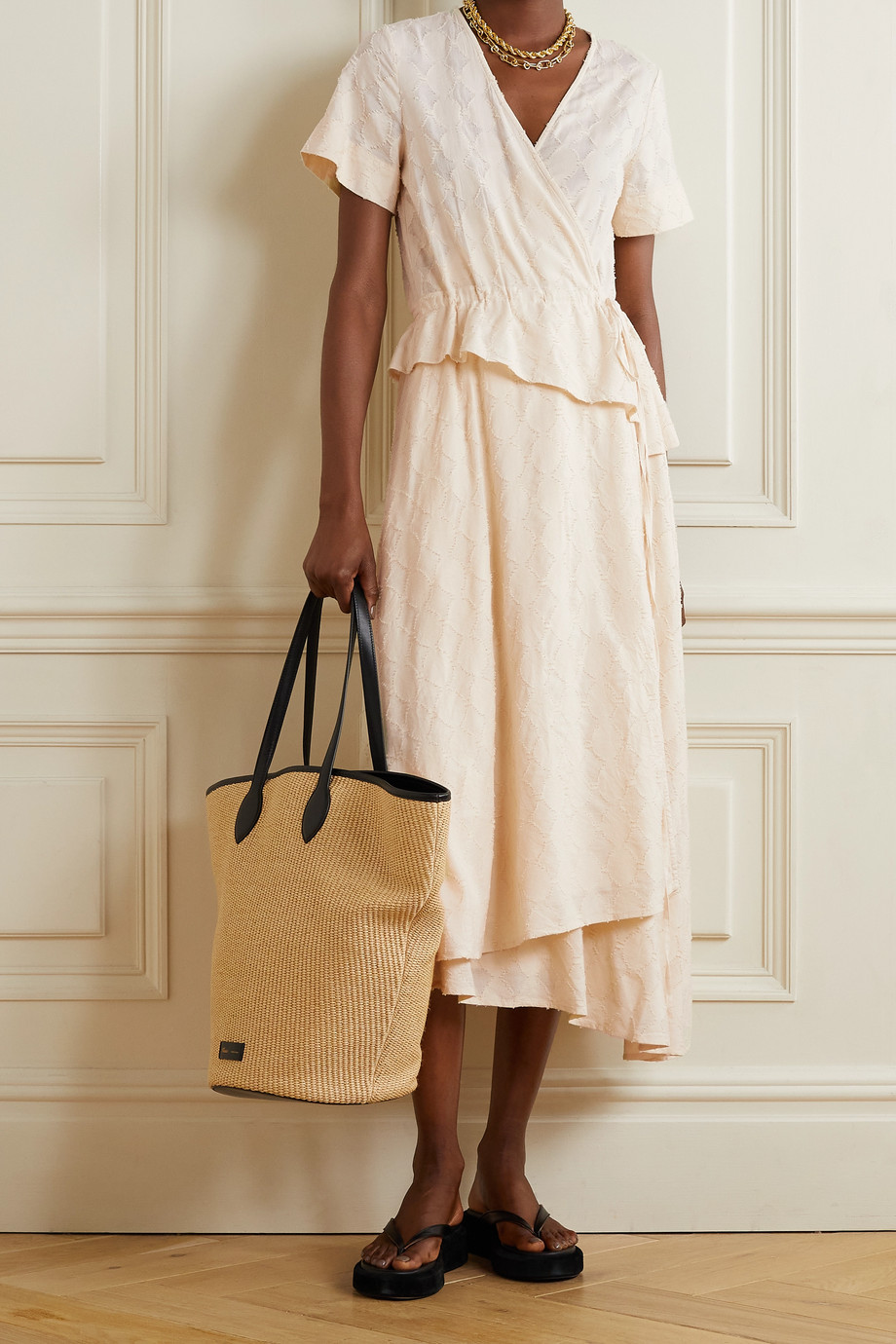 APIECE APART Cabo asymmetric draped fil coupé voile wrap midi dress