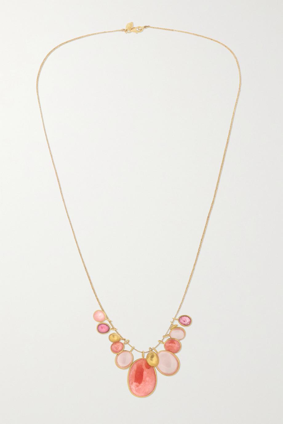 Pippa Small Kette aus 18 Karat Gold mit mehreren Steinen