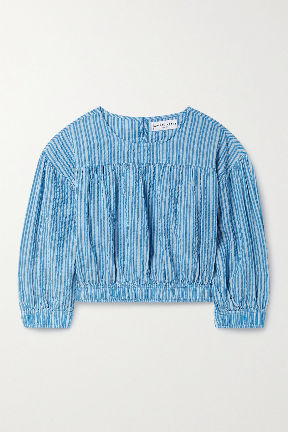 APIECE APART Teresa cropped striped organic cotton-seersucker blouse