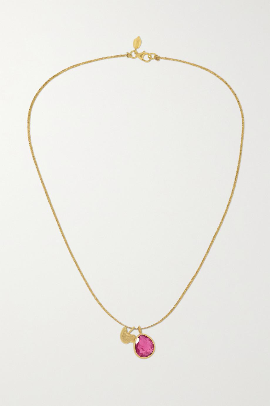 Pippa Small Kette aus 18 Karat Gold mit Turmalin