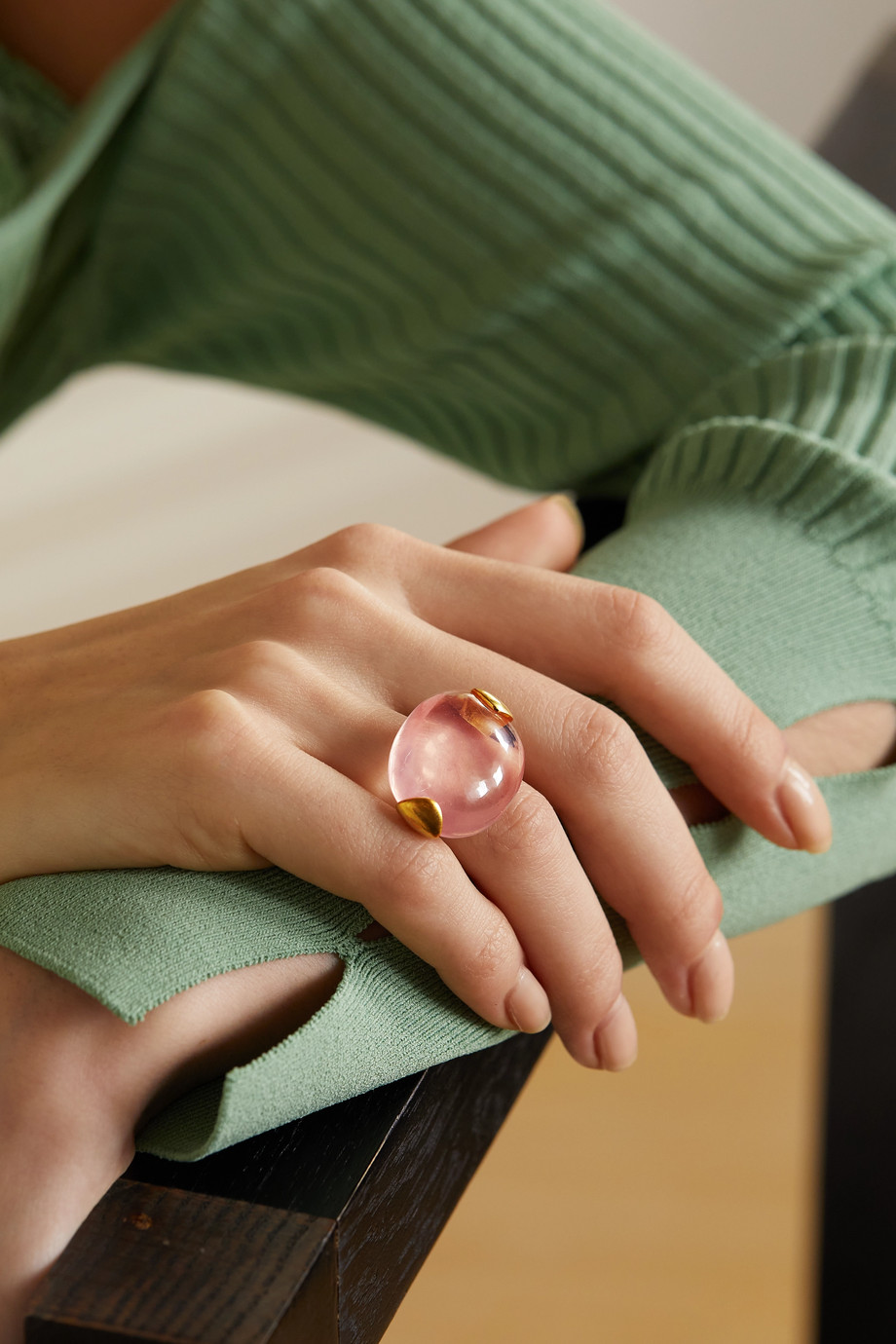 Pippa Small 18-karat gold quartz ring