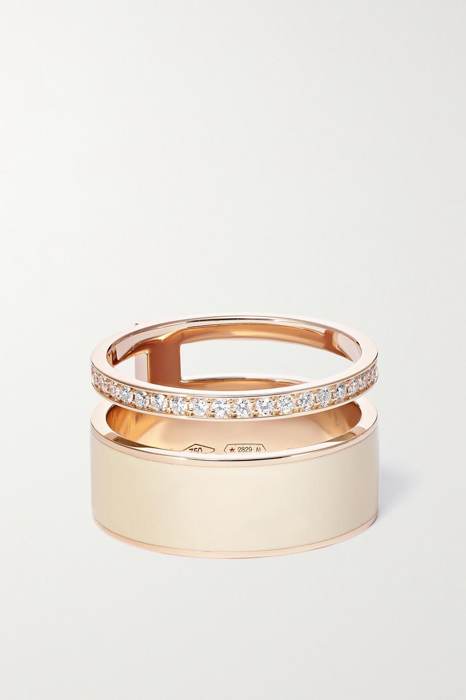 Repossi Bague en or rose 18 carats, émail et diamants Berbere
