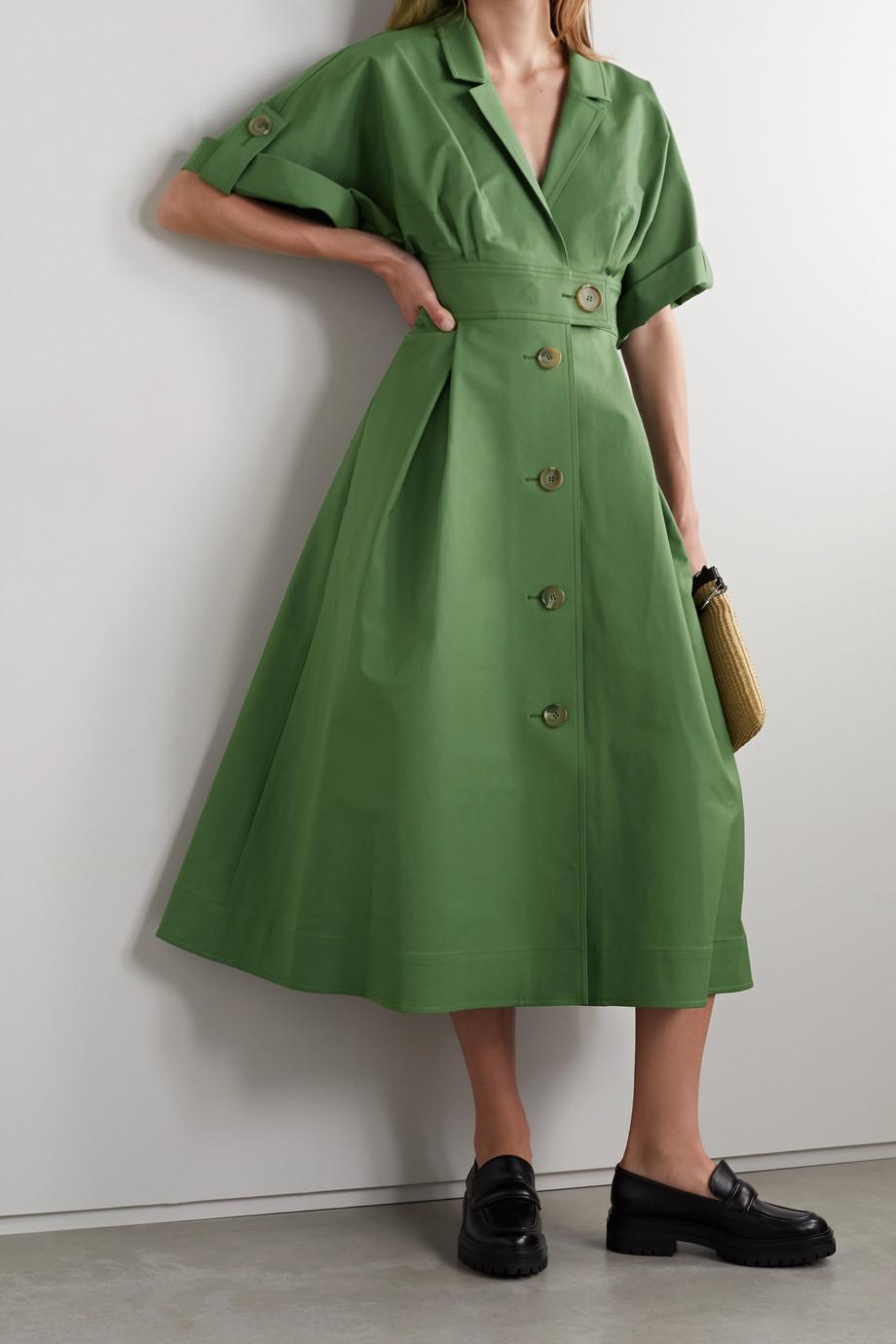 Carolina Herrera Midi-Hemdblusenkleid aus Satin aus einer Baumwollmischung