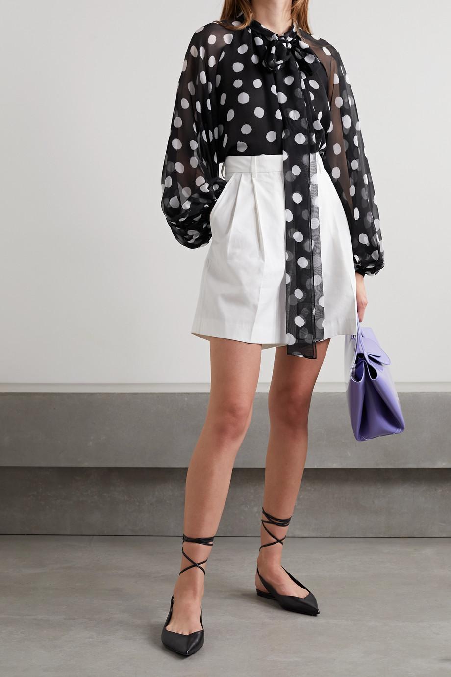 Carolina Herrera Pussy-bow polka-dot silk-chiffon blouse