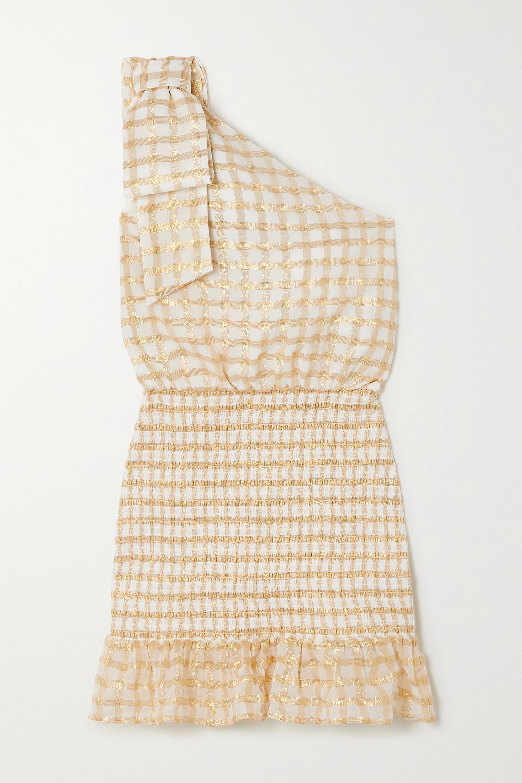 Rebecca Vallance Mini-robe asymétrique en mousseline de soie mélangée à fil coupé, carreaux et smocks Almeria