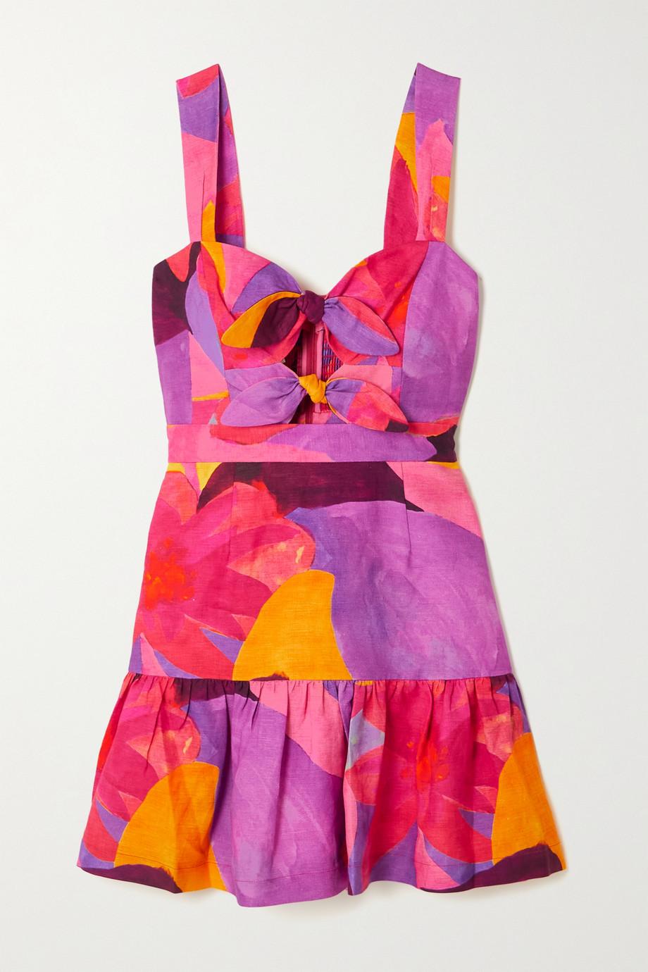 Rebecca Vallance Pablo Minikleid aus einer bedruckten Leinenmischung mit Cut-outs