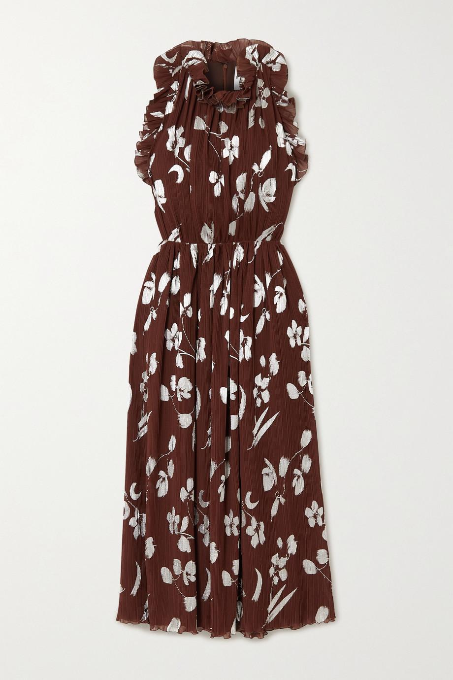 Halpern Midikleid aus plissiertem Georgette mit Blumenprint und Rüschen