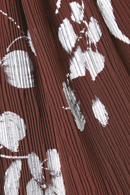 Halpern Haut à encolure américaine en crépon imprimé métallisé