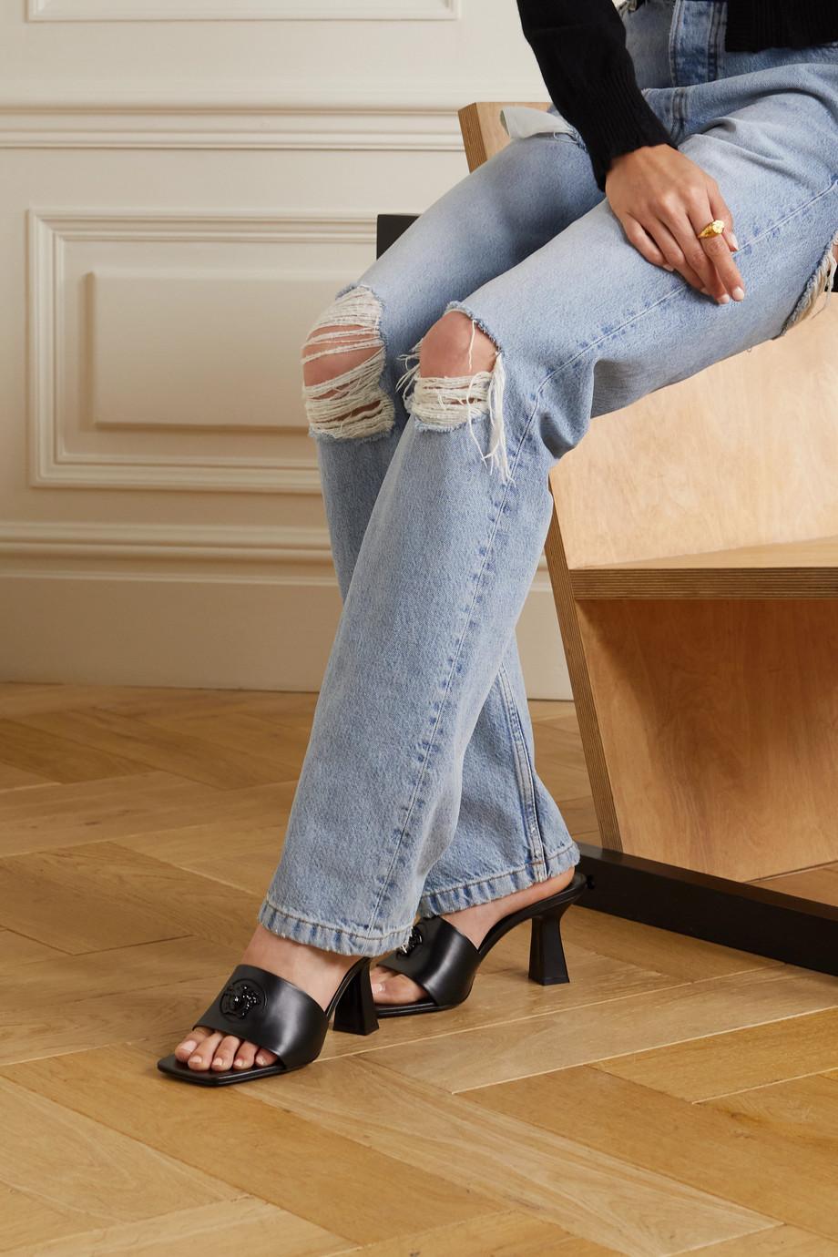 Versace Mules aus Leder mit Logoverzierung
