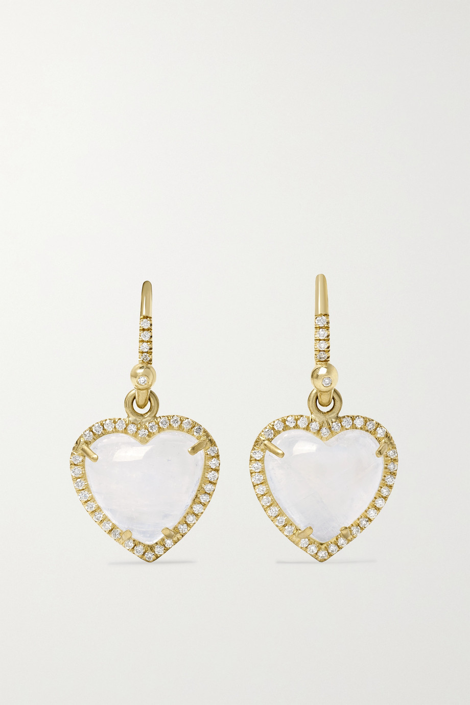 Irene Neuwirth Love 18-karat gold, moonstone and diamond earrings