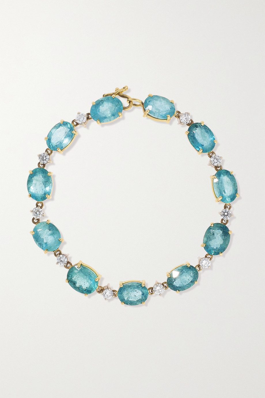 Irene Neuwirth 18-karat yellow and white gold, aquamarine and diamond bracelet