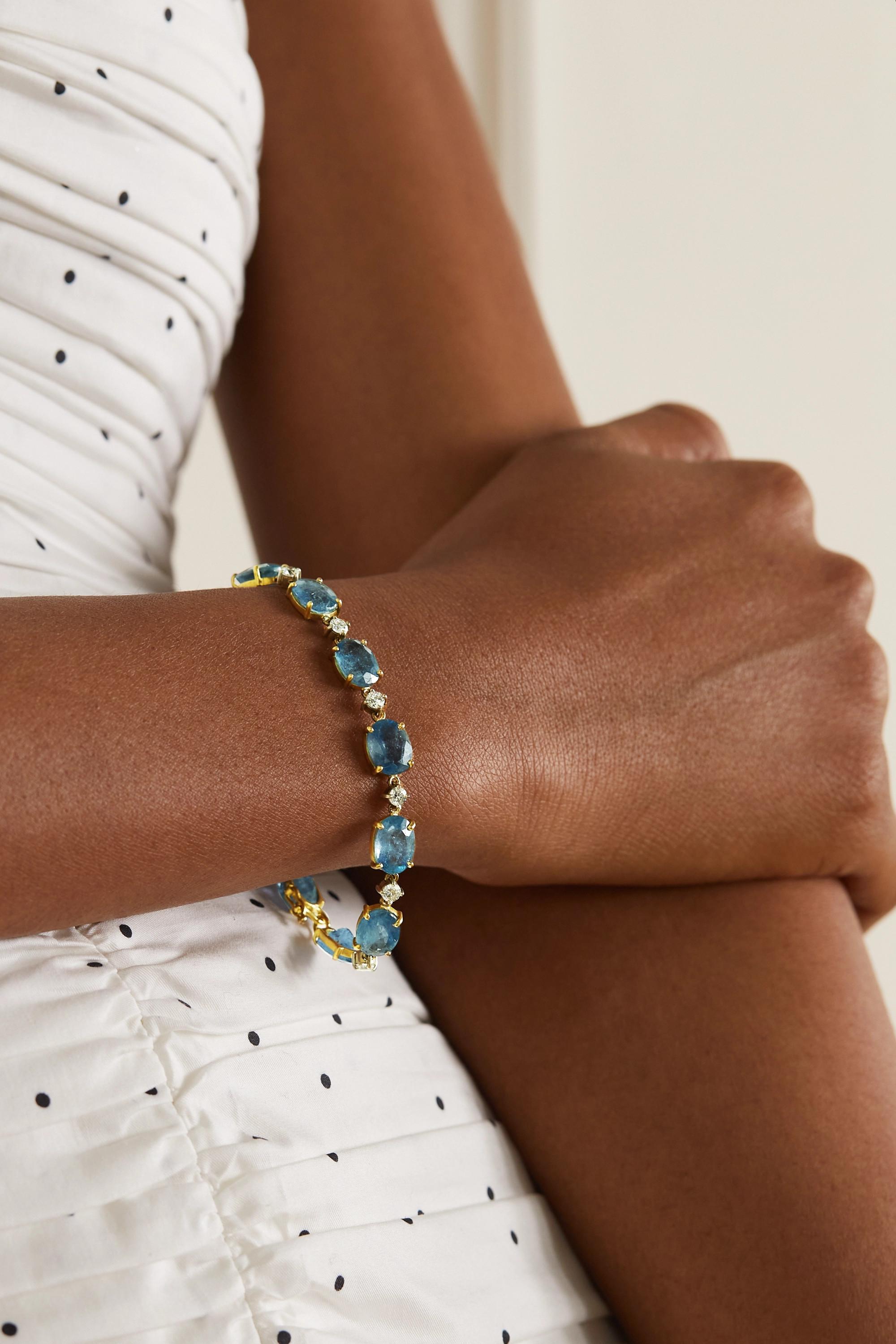 Irene Neuwirth Armband aus 18 Karat Gelb- und Weißgold mit Aquamarinen und Diamanten