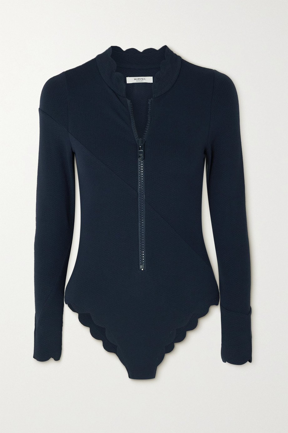 Marysia + NET SUSTAIN North Sea scalloped recycled seersucker swimsuit