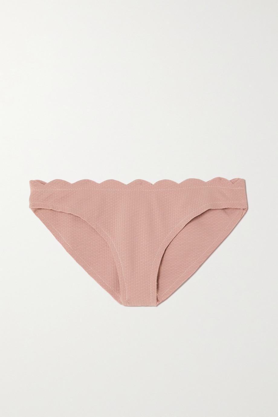 Marysia + NET SUSTAIN Santa Barbara scalloped recycled seersucker bikini briefs