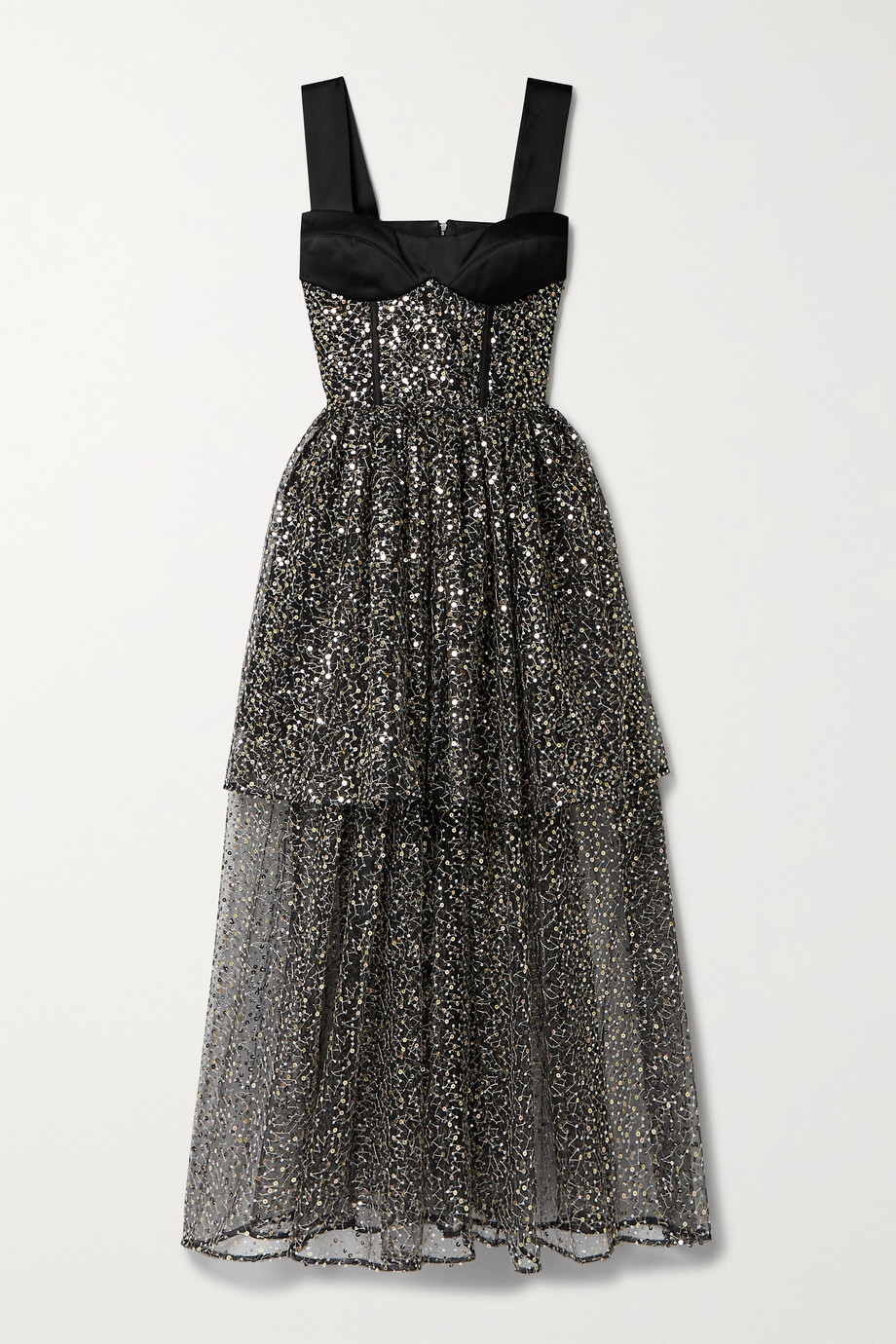 RASARIO Tiered sequined-embellished  tulle and satin gown