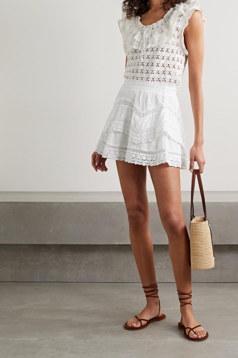LoveShackFancy Mini-jupe en voile de coton à finitions en crochet Abrielle