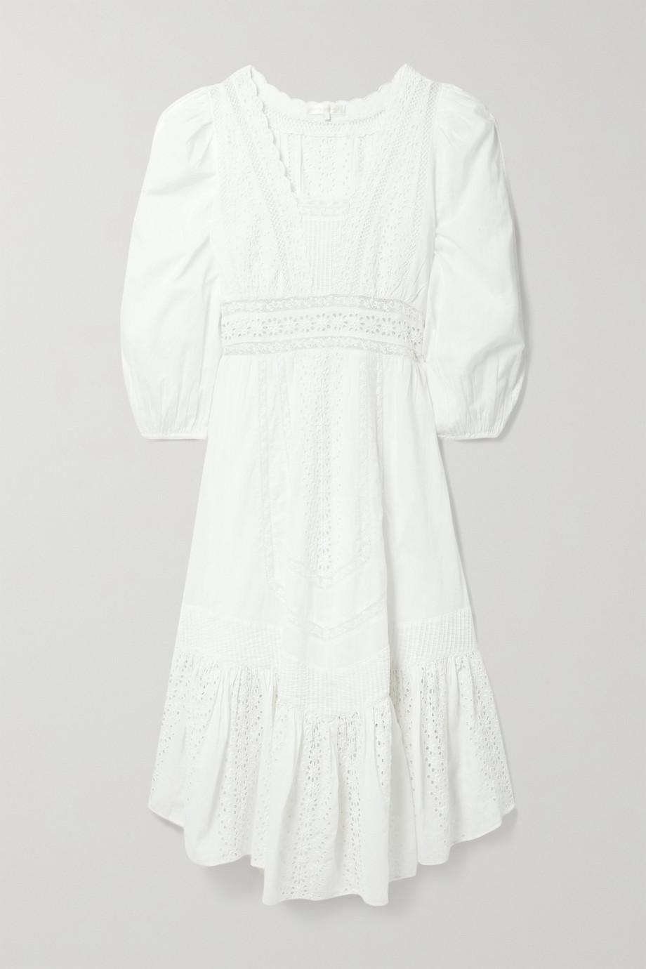LoveShackFancy Garrison crochet-trimmed broderie anglaise cotton-voile midi dress