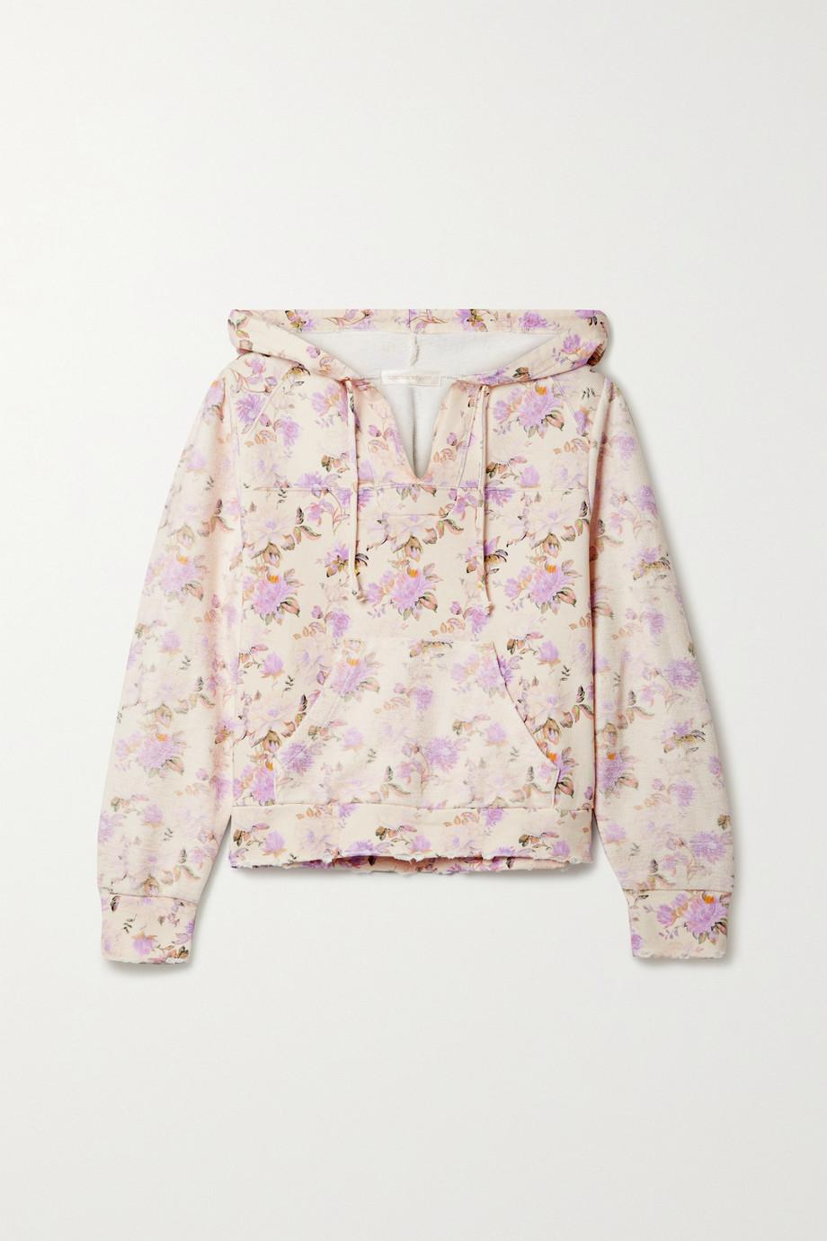 LoveShackFancy Sweat à capuche en jersey de coton à imprimé fleuri effet vieilli Kirby