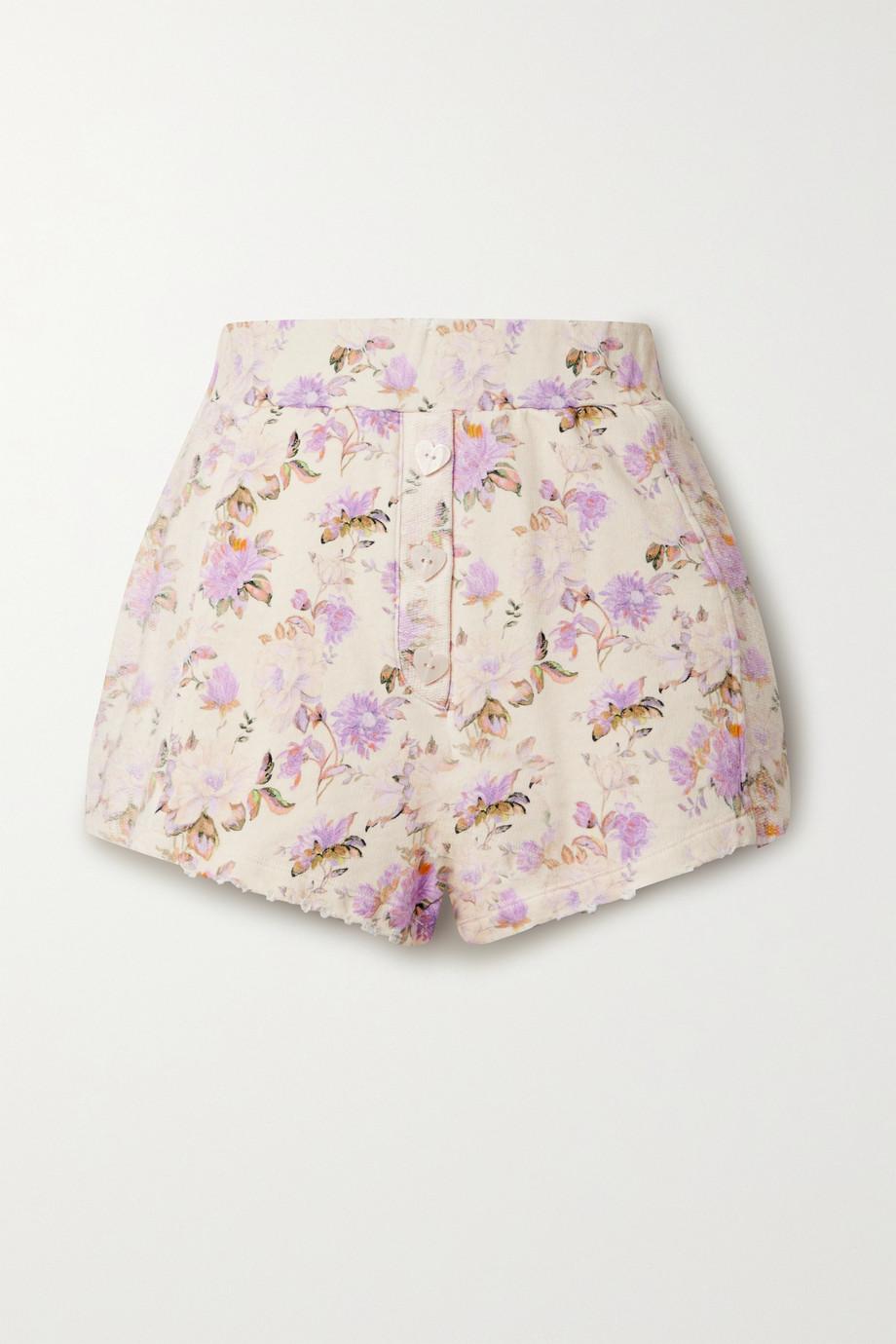 LoveShackFancy Short en jersey de coton à imprimé fleuri et à effet vieilli Renato