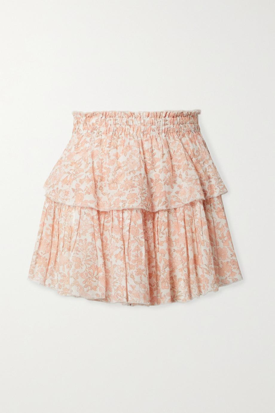 LoveShackFancy Mini-jupe à superpositions en voile de coton effilé et à imprimé fleuri